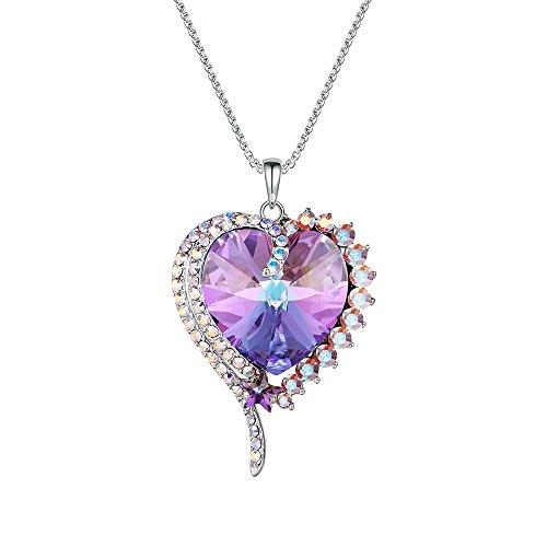 XUPING Jewelry Romantic Love Crystals from Swarovski Heart Pendant Women Christmas (Purple)