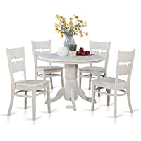 East West Furniture SHRO5-WHI-W 5-Piece Kitchen Table and Chairs Set