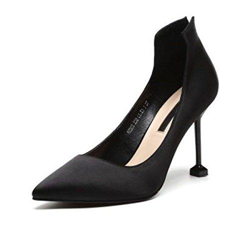 Damenmode Rot Bankett Heels Spitz Stiletto Pumps Für Formale Hochzeit Patry Slip Auf Satin Pumps Court Schuhe Black