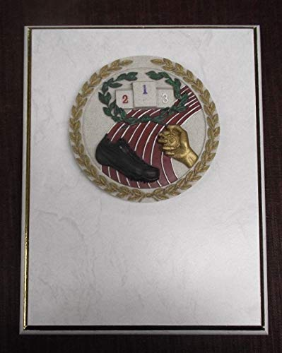 White Track Plaque 7 x 9 Gold Border Full Color Resin Relief