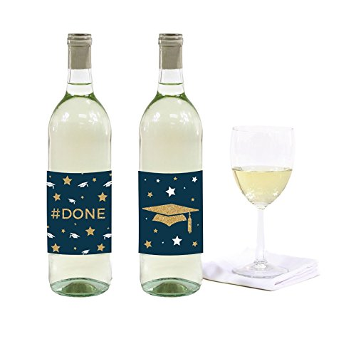 (Andaz Press Navy Blue and Gold Glittering Graduation Party Collection, Wine or Apple Cider Bottle Labels, 8-Pack)