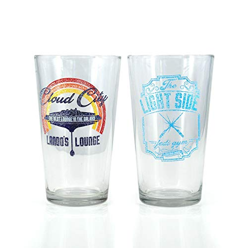 Star Wars Pint Glass Set | Retro-Themed Lando's Lounge & The Light Side Jedi Gym Pint Glasses | Set of 2 16-Ounce Glasses