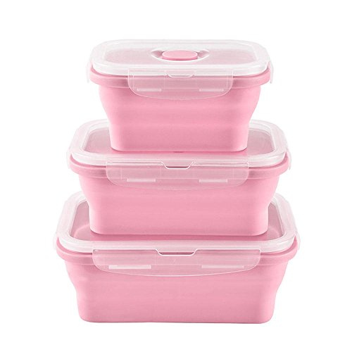 Pawaca 3 Pack Collapsible Silicone Food Storage Containers with Lids, Reusable Lunch Boxes Lunch Bento, Microwave, Fridge, Freezer & Dishwasher (M16 Collapsible)
