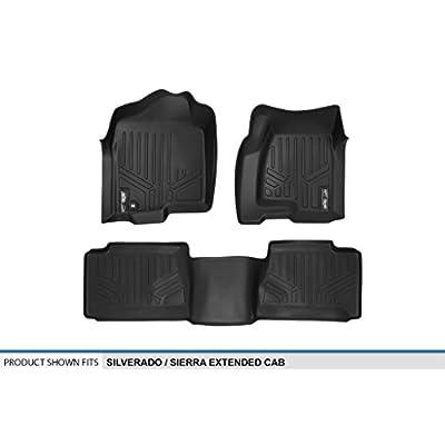 MAXLINER Floor Mats 2 Row Liner Set Black for 2001-2007 Silverado/Sierra 1500/2500/3500 Extended Cab Classic Body Style: Automotive