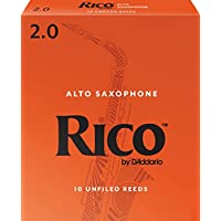 Cañas de saxofón Rico alto, fuerza 2.0, paquete de 10