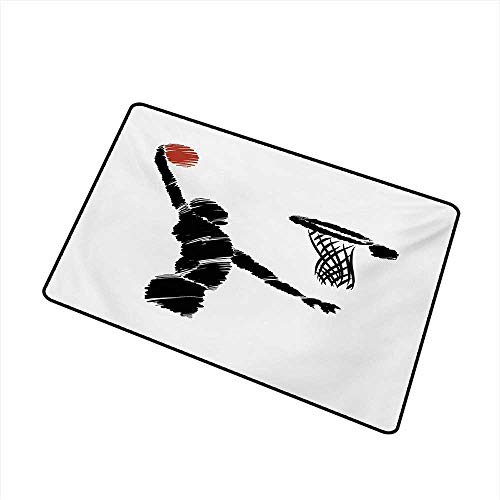 BeckyWCarr Youth Commercial Grade Entrance mat Freehand Drawing Style Basketball Player Jumping Athlete Training Artwork for entrances, garages, patios W31.5 x L47.2 Inch,Cinnamon Black White