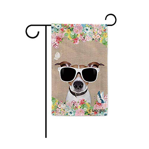 BAGEYOU Hello Spring Flowers with My Love Dog Jack Russell Terrier Decorative Outdoor Garden Flag Cute Puppy Summer Floral Seasonal Banner 12.5X18 Inch Print Double Sided