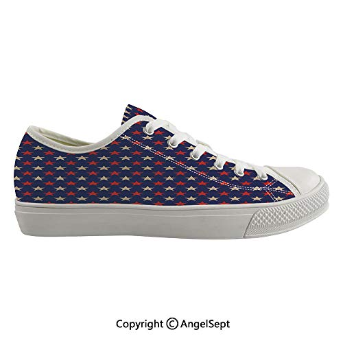 Durable Anti-Slip Sole Washable Canvas Shoes 14.56inch Vintage Patriotic True Blue Home Country My Land Birthday Retro Artsy Pattern,Dark Blue Cream Red Flexible and Soft Nice Gift