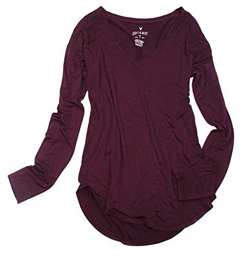 American Eagle Women's Soft & Sexy Long Sleeve Favorite T-Shirt W-07 (X-Small, Wine 613) (Womens 07 T-shirt)