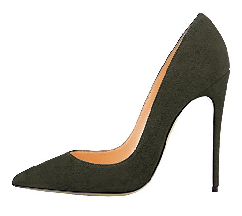 Guoar Womens Stiletto Big Size Shoes Pointed Toe Patent Ladies Solid Pumps For Work Place Dress Party C-dark Green-suede L7GY6sbAWN