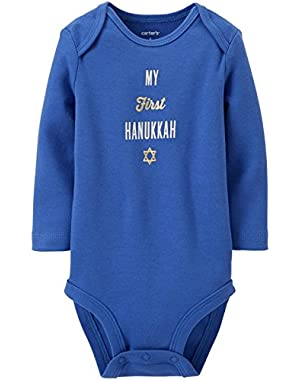 Unisex Baby Holiday Bodysuit (Baby) - First Hanukkah - Blue - 12 Months
