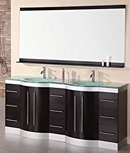 Design Element Jade Double Integrated Glass Drop In Sink