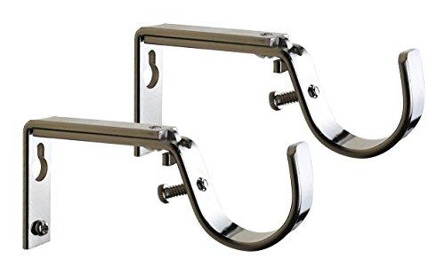 Set 1.25 Rod - Meriville Set of 2 Satin Nickel Curtain Drapery Rod Bracket for 1 1/4-Inch Rod, Adjustable