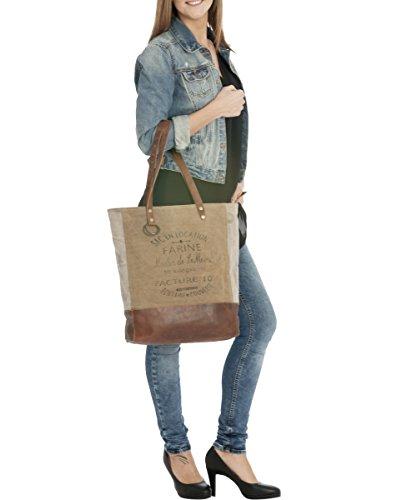 cd7d5d3a8971b ... Sunsa Damen Vintage Tasche Shopper Canvas Segeltuch mit Leder  Schultertasche Handtasche 45x43x9 cm ...
