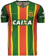 Camisa Oficial Sampaio Corrêa Esporte Clube Masculina Adulto Verde Listrada Gola V Manga Curta Escudo Bordado
