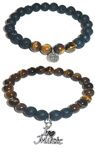 Black Charms Beaded (Hidden Hollow Beads Charm Tigers Eye and Black Lava Natural Stone Women's Yoga Beaded Stretch Bracelet Set. COMES IN A GIFT BOX! (I Love Music))