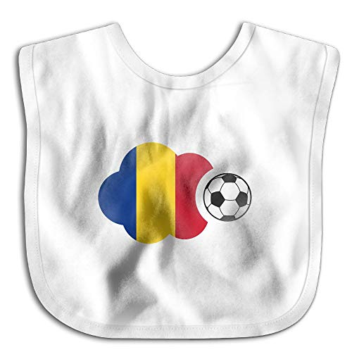 Romania Flag Soccer BallToddler Newborn Children Skin-Friendly Saliva Towel Waterproof Baby Bibs