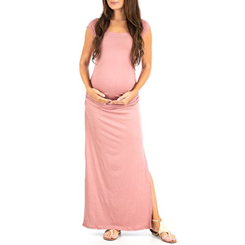 Women's Shortsleeve Ruched Bodycon Maternity Dress with Side Slits - Made in USA - Inch Stage 24 Long