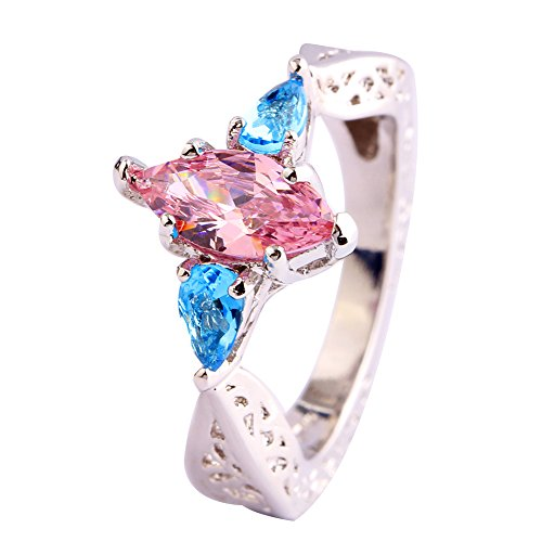 (Narica Womens Simple Cute Marquise Cut Pink Topaz Color Stone Cocktail Ring)