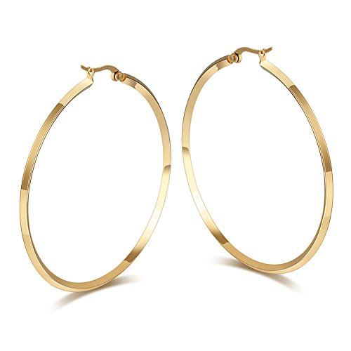 18k Gold Filled Hoop Earrings - Fashion Women's Stainless Steel Round Large Size Big Hoop Earring Gold/Silver, 57mm(22.4