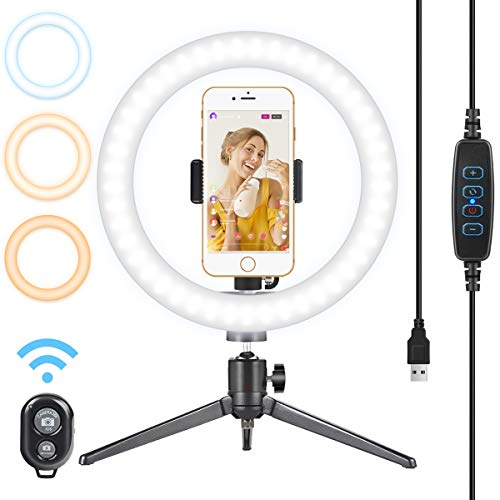 """10"""" Ring Light with Alloy Tripod Stand - Selfie Light Ring with Cell Phone Holder and Remote Control 120 Bulbs Dimmable Beauty Desktop Ringlight for Video/Live Stream/Makeup/Photography (Upgraded)"""