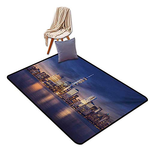 Cityscape Latex Backing Non Slip Door Mat New York City Manhattan After Sunset View Picture with Skyline Reflection River Water Absorption, Anti-Skid and Oil Proof 55