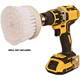 2MU Premium Drill Brush attachment, 1 Each White Soft Bristle, Power Scrubber, Quick Easy Household Cleaning Time Saver