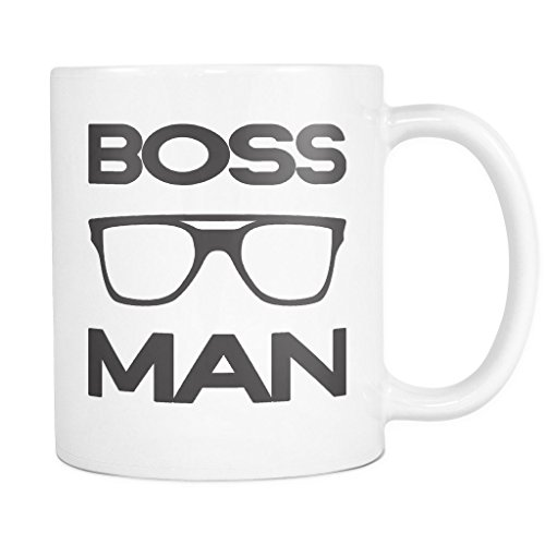 BOSS MAN with Glasses Coffee Mug, PERFECT PERSONALIZED MEN GIFT for Boss Husband Boyfriend Father Son Guy! Attractive Durable White Ceramic Mug STYLE - Sign Sunglasses Plus With Logo
