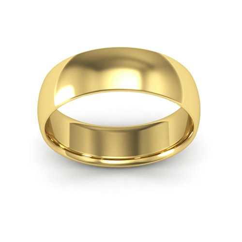 14K Yellow Gold men's and women's plain wedding bands 6mm comfort-fit light, 12 by i Wedding Band (Image #3)