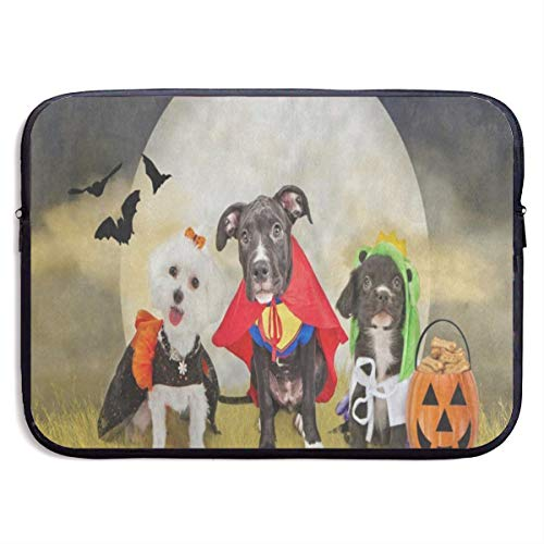 Funny Briefcase Hipster Puppy Dog Dressed in Halloween Costumes Laptop Sleeve Waterproof Neoprene Diving Fabric Protective Briefcase Laptop Bag for IPad, Notebook/Ultrabook/Acer/Asus/Dell]()