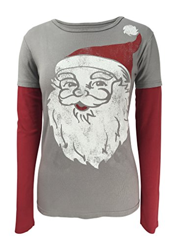 (Green 3 Santa Christmas Long Sleeve 2 in 1 Tee (Grey) - 100% Organic Cotton Womens T Shirt, Made in The USA (XX-Large))