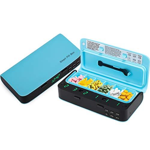 Pastillero electrónico configuración 7 alarmas y dosis