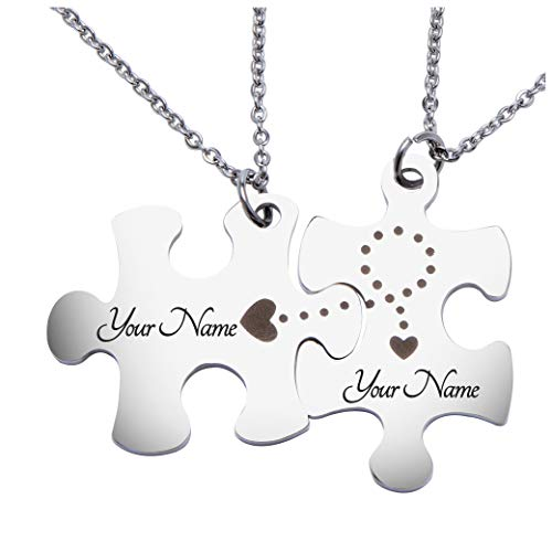 Fanery Sue Matching Puzzles Personalized Necklace Name Necklace Custom Engraved ID Tag for Couples Best Friends(Engraving Style 1) (Custom Best Friend Necklaces)