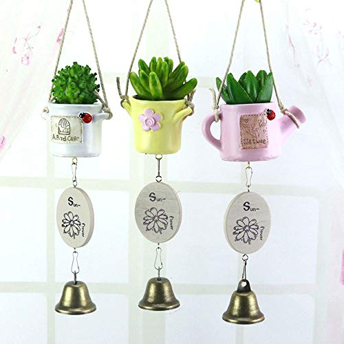 (LIZONGFQ 3 Pieces Fake Succulent Potted Wind Chimes Hanging Ornaments Small Fresh Fleshy Wind Chimes Resin Crafts Gifts Student Bells Home Decor Pendant)
