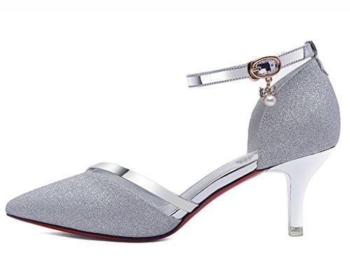 En Chaussures 40 De Cuir Femelle Femme Hwf Simples couleur Taille Doré Silver Femmes Printemps Les O0w0nrqxZR