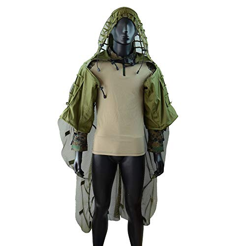 ROCOTACTICAL Tactical Sniper Top Ghillie Base Airsoft Hunting Ghillie Suit Foundation (Ghillie Base+Cape Army Green) ()
