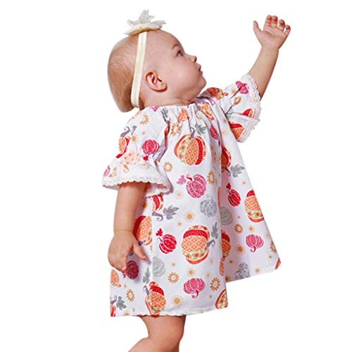 Sinfu Dress for Toddler Infant Baby Girls Pumpkin Print Dresses Halloween Costume Outfits (12-18 Months, -