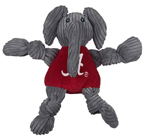 HuggleHounds Officially Licensed College Mascot Plush Corduroy Durable Squeaky Knottie, Great Dog Toys for Aggressive Chewers (Alabama (U. of) Big AL, Small)