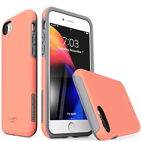TEAM LUXURY iPhone 7 Case/iPhone 8 Case, [Clarity Series] Updated G-III Ultra Defender TPU + PC [Shock Absorbent] Premium Protective Phone Case -for Apple iPhone 7 & 8 (4.7 Inch) (Living Coral/Gray)