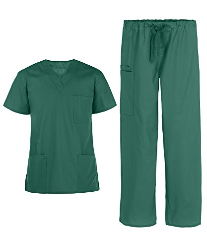 (Men's Medical Uniform Scrub Set – Includes 3 Pocket V-Neck Top and Drawstring Pant (XS-3X, 14 Colors) (X-Large, Hunter))