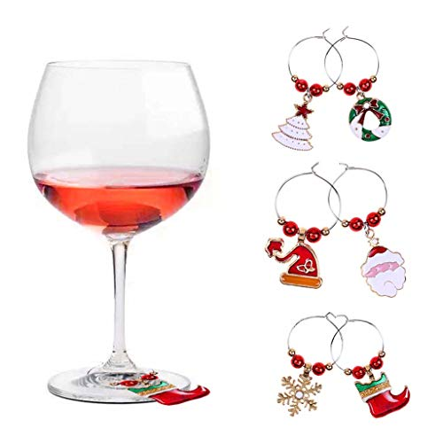 Diy Personalized Wine Glasses (Iusun Christmas Wine Glass Decoration Charms Cup Ring Table Decor for Wedding Party Holiday New Year Home Office Supplies Gift)