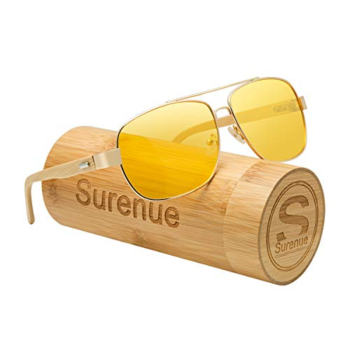 Surenue night driving glasses anti glare wood sport polarizedYellow Tint Polycarbonate Lens Safety Sunglasses Men Women