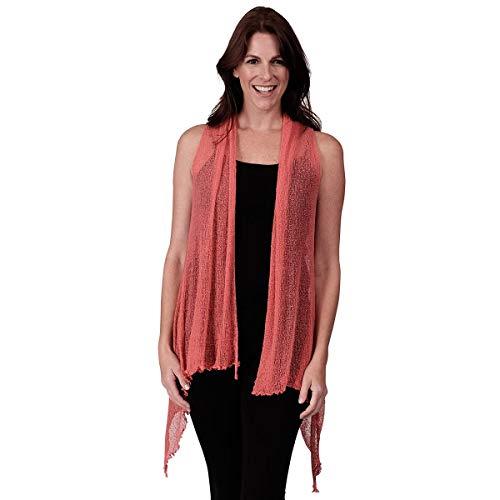 (Le Moda Women's Sleeveless Sheer Open Stitch Vest Cardigan | Open Front | One Size (ONE Size,)