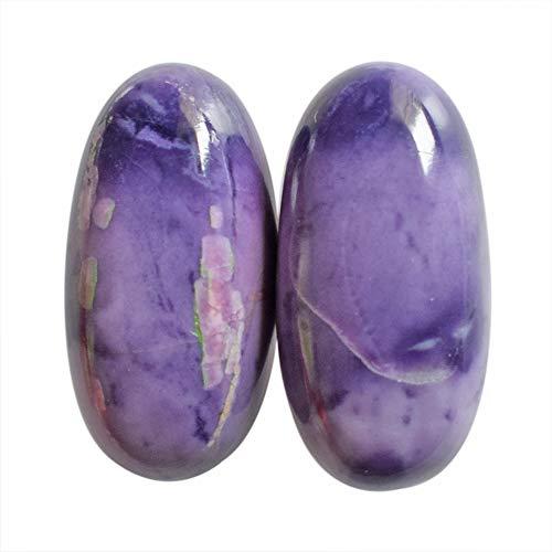 ABC Jewelry Mart Natural Purple Tiffany Jasper Pair Cabochon, Oval Shape, Flat Back, Size 20x10x5 MM, Bertrandite, Earring Pair Stone AG-13552
