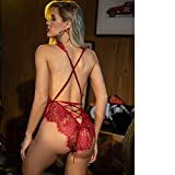 ADOME Women One Piece Lingerie Deep V Teddy Lace