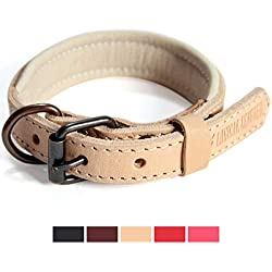 Logical Leather Padded Dog Collar - Best Full Grain Heavy Duty Genuine Leather Collar - Tan - Extra Small