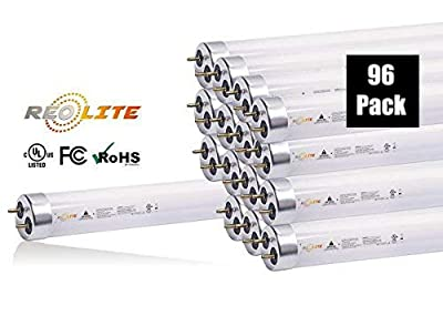 REO-LITE T8 LED Light Tube Lamp, 4FT, 17W (32W Replacement), Plug & Play Ballast Compatible,1650 Lumens, 4100K, Frosted Glass, Works with Electronic Ballast, UL Listed, (96 Pack)