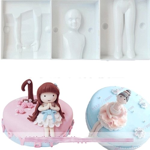 Anyana 6pcs set Little Girl Body Shape Plastic Cookie Cutter Cake Mould Tool Kitchen Tool Sugar Paste Baking Mould Cookie Pastry topper