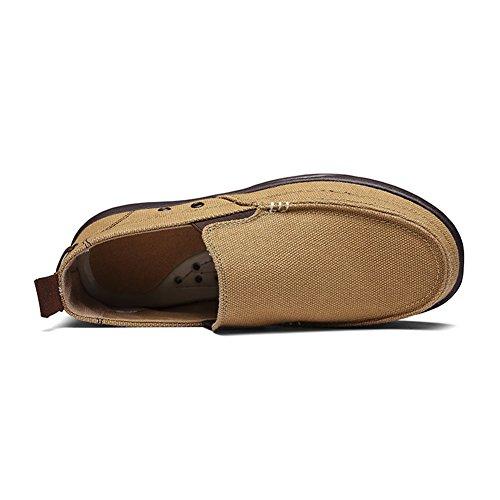 SANBANG Männer Slip-On Loafers Flach Leinwand Bootsschuhe Für Fahren Gehen Jäten Im Freien Khaki2