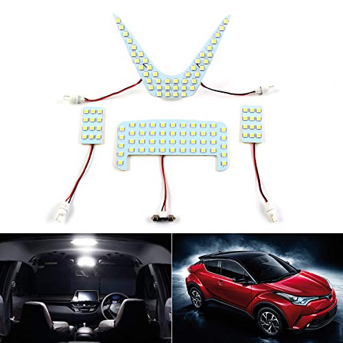 (Premis T10 921 194 Interior LED Light Lamps 5050-SMD 6000K Ultra Bright Dome LED Lights Interior Reading Lights for Toyota C-HR 2017 2018 Cool White 3-Year Warranty (Pack f 4))